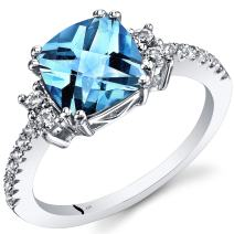 14K White Gold Swiss Blue Topaz Ring Cushion Checkerboard Cut 2.50 Carats Sizes 5 to 9