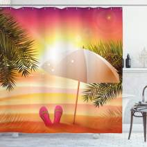 """Ambesonne Orange Shower Curtain, Sunset at The Beach with Flip Flops Umbrella and Palm Trees Illustration, Cloth Fabric Bathroom Decor Set with Hooks, 75"""" Long, Orange and Yellow"""