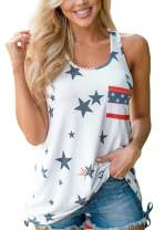 For G and PL Women July 4th Tank Top Sleeveless Summer Patriotic Casual American Flag Shirt USA White 2XL