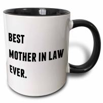 3dRose Best Mother In Law Ever, Letters Background Two Tone Mug, 11 oz, Black/White