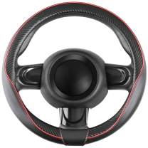 """SEG Direct Car Steering Wheel Cover Small-Size for Prius Civic Camaro Spark Rogue Mini Smart Audi with 14""""-14 1/4"""" Outer Diameter Leather with Carbon Fiber Pattern Black and Red"""