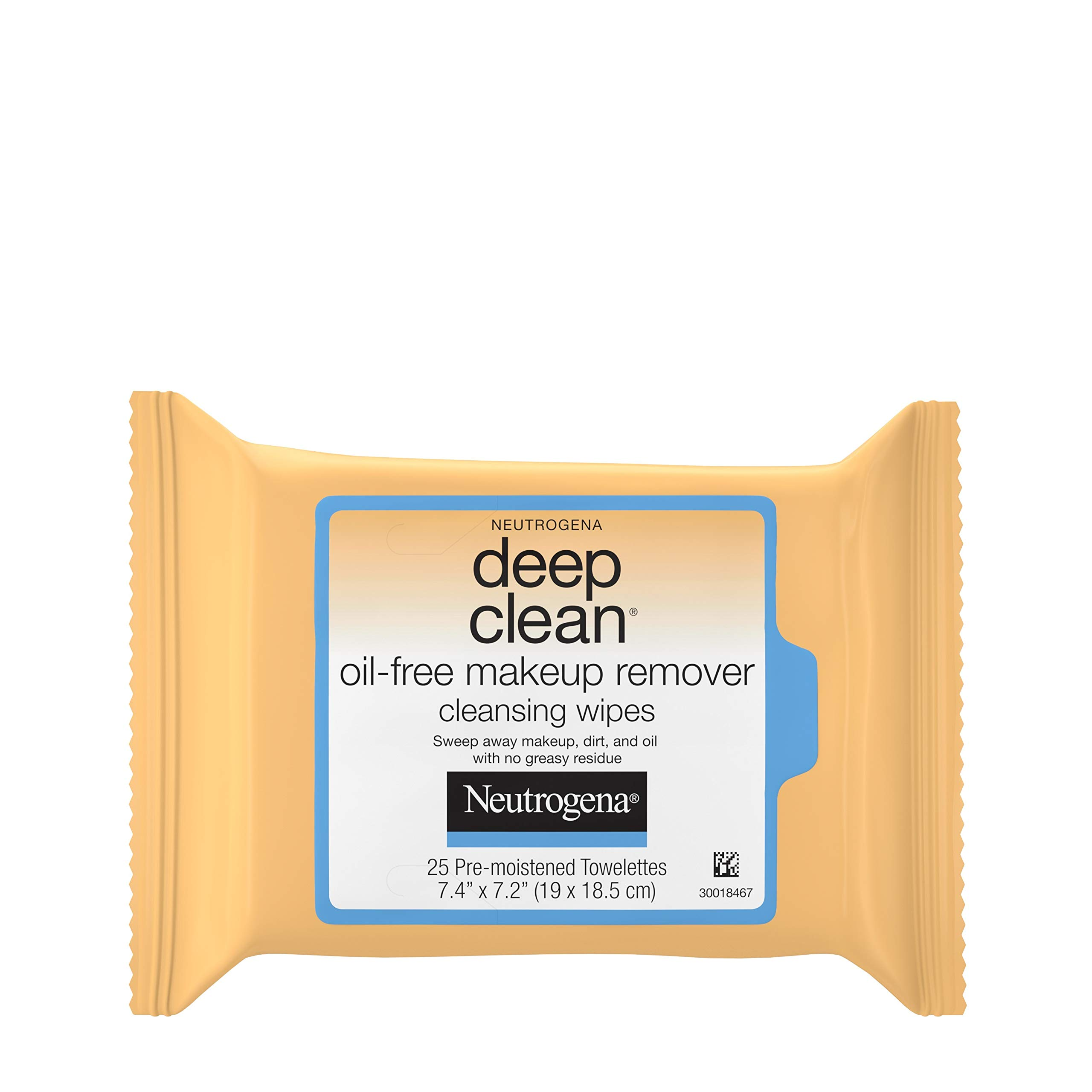 Neutrogena Deep Clean Oil-Free Makeup Remover Cleansing Face Wipes, Daily Cleansing Towelettes to Remove Dirt, Oil, and Makeup, 25 ct