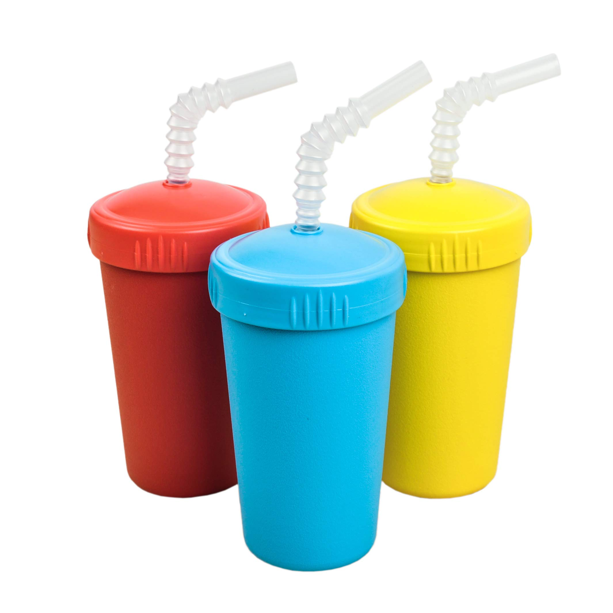 Re-Play Made in The USA 3pk Straw Cups for Baby, Toddler, and Child Feeding - Red, Yellow, Sky Blue (Preschool)