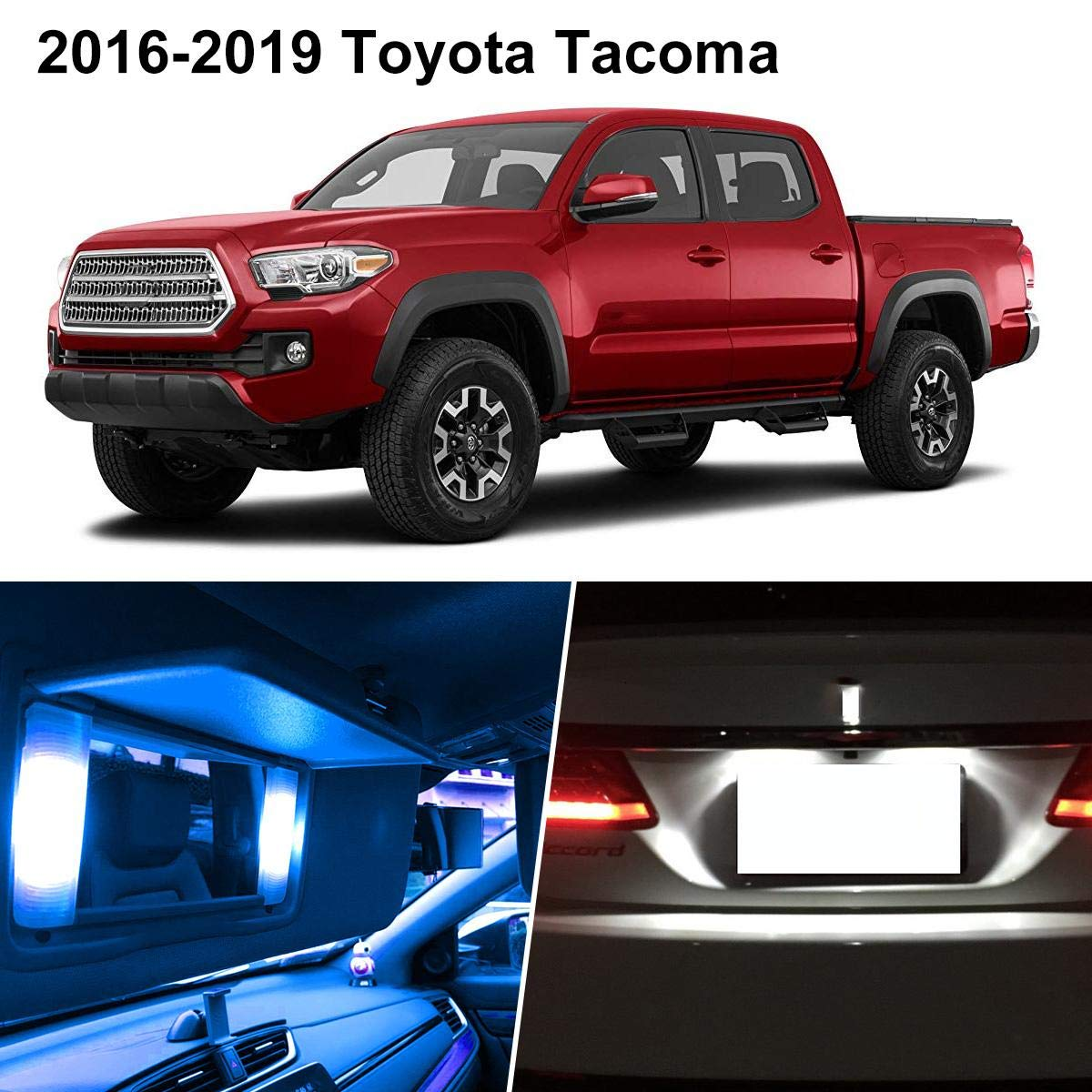 Partsam Interior LED Lights Light Package Lighting Kit with Tool Pry Bar Replacement for Toyota Tacoma 2016 2017 2018 2019 -Ice Blue (10 Pieces)
