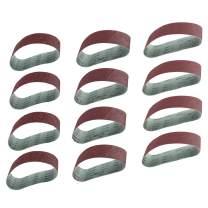 8MILELAKE 12pcs Sanding Belts 40,80,120 Grit Aluminum Oxide Sanding Belt