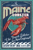 Maine - Lobster Vintage Sign (12x18 Art Print, Wall Decor Travel Poster)