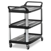 Rubbermaid Commercial Products Heavy Duty 3-Shelf Rolling Service/Utility/Push Cart, 300 lbs. Capacity, Black, for Foodservice/Restaurant/Cleaning (FG409100BLA)