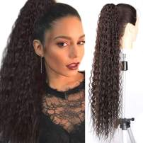 """Fashion Icon 30"""" Long Drawstring Ponytail Synthetic High Puff Afro Clip in Ponytail Hair Extensions Brown Curly Corn Wave Clip in Hair Pieces for Women (#4)"""