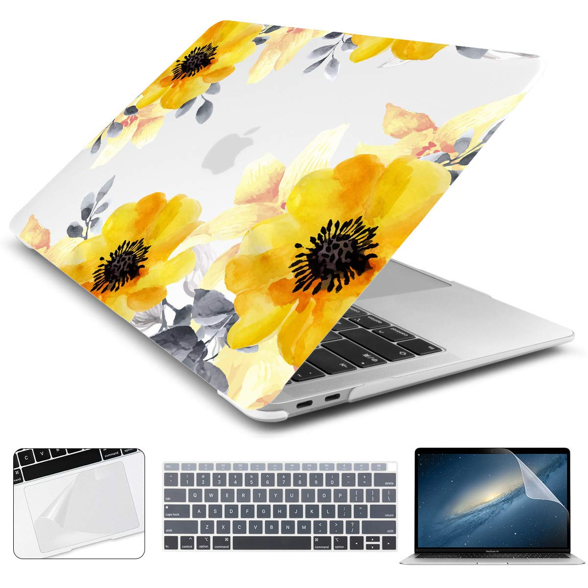 Batianda New MacBook Air 13 inch Case 2020 2019 2018 Release with Retina Model:A2179 A1932 Yellow Sunflower Design Matte Hard Laptop Shell with Keyboard Cover Trackpad Screen Protector