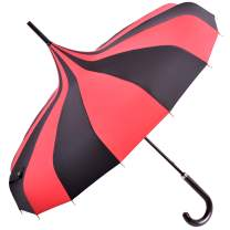 Kung Fu Smith Vintage Pagoda Parasol Umbrella, Sun UV Protection Rain Stick Umbrellas for Women & Girls Black and Red