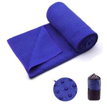 "Yoga Towel,Hot Yoga Mat Towel - Sweat Absorbent Non-Slip for Hot Yoga, Pilates and Workout 24"" x72(Grip Dots,Blue)"