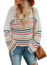 Dokotoo Women's Long Sleeve Crew Neck Striped Color Block Casual Loose Knitted Pullovers Sweaters Tops