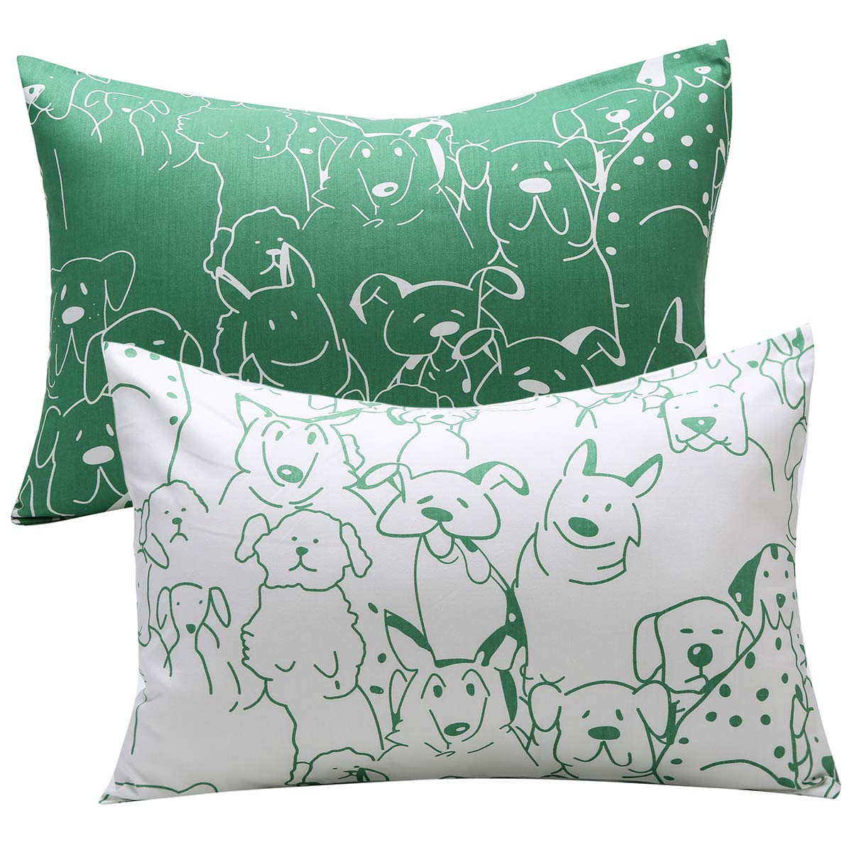 UOMNY Kids Toddler Pillowcases 2 Pack 100% Cotton Pillow Cover Pillowslip Case Fits Pillows sizesd 13 x 18 or 12x 16 for Kids Bedding Pillow Cover Baby Pillow Cases Dog Kids' Pillowcases Green