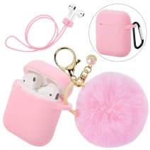 Silicone Hang Case Cover with D-Locking Carabiner and Fur Ball Keychain Compatible with Airpod Charging Case - Anti-dust Shockproof Silicone Shell Headphone Accessories (Pink)