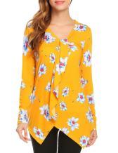 SE MIU Women's Chiffon Long Sleeve Polka Dots Office Button Down Blouse Shirt Tops