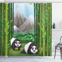 "Ambesonne Tropical Shower Curtain, Panda Bears Walking Among Bamboo Majestic Mountain Jungle Cartoon Illustration, Cloth Fabric Bathroom Decor Set with Hooks, 84"" Long Extra, Green Grey"