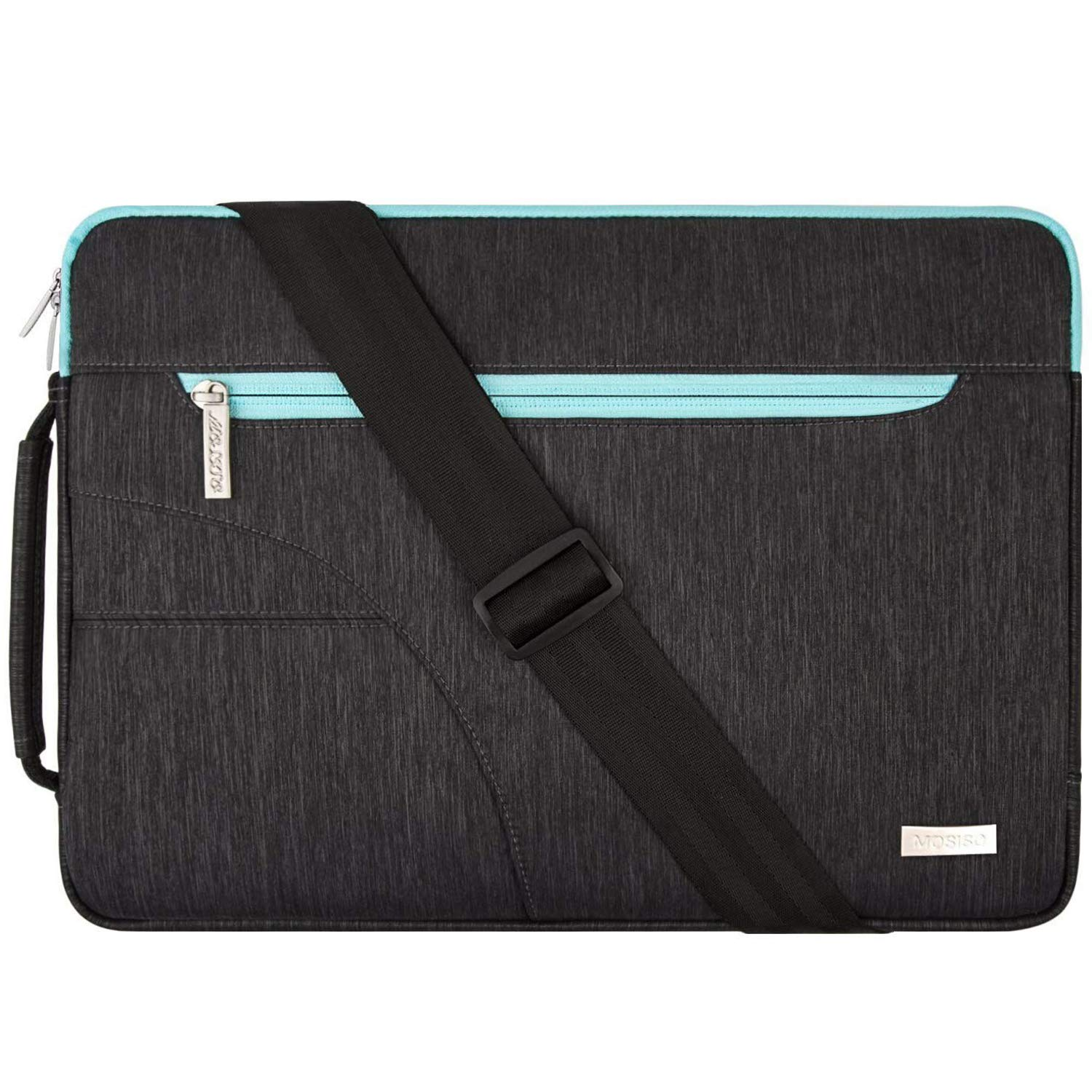 MOSISO Laptop Shoulder Bag Compatible with 13-13.3 inch MacBook Pro, MacBook Air, Notebook Computer, Polyester Briefcase Sleeve with Side Handle, Black & Hot Blue