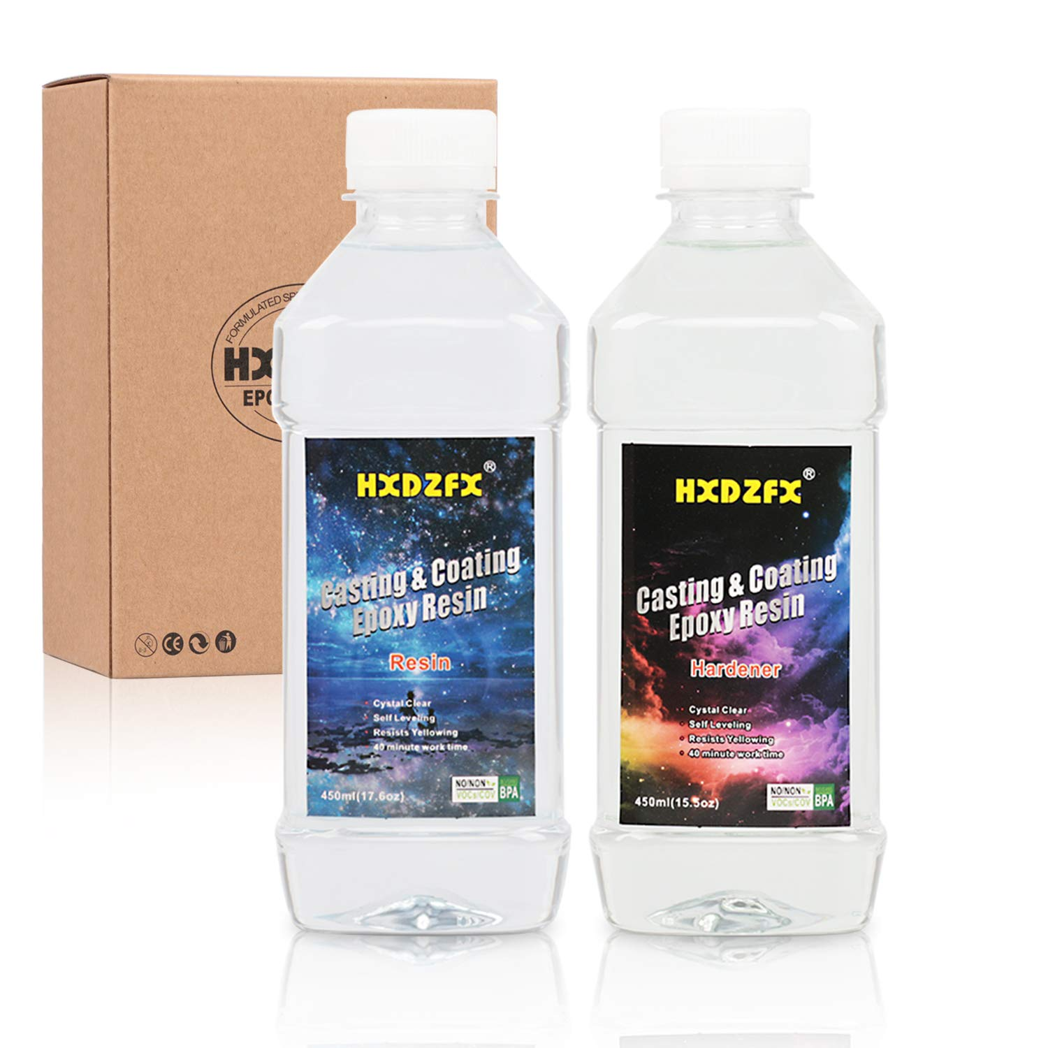 HXDZFX Epoxy Resin Coating 33.1oz Kit Crystal Clear Resin, for Table Tops, Bars, Wood finishes, See Through Encapsulations, Art Work (33.1oz)