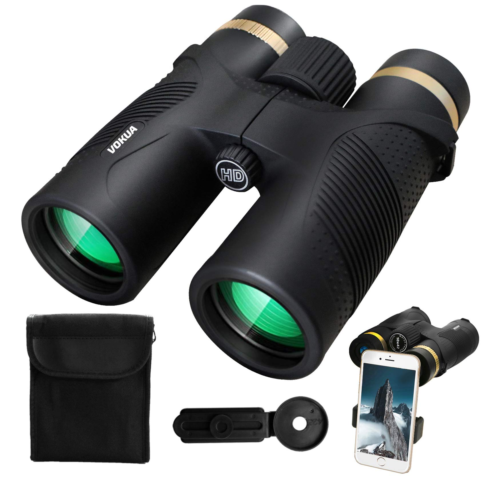 10X42 Binoculars for Adults, VOKUA Compact Binoculars for Bird Watching, Traveling and Hunting, BAK4 HD Prism & FMC Multi-Coated Objective Lenses Binoculars with Low Light Night Vision, Waterproof