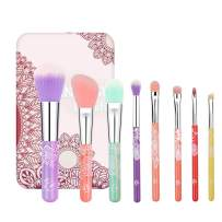 ENERGY Colorful Rainbow Makeup Powder Brushes Set With Case Beauty Tools with Foundation Face Blending Blush Concealer Brow Eye Shadow Brushes Essential Cosmetics for Girl Women (8 Pcs)