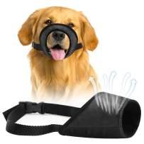 Dzmodz Dog Muzzle Anti-Biting Barking Chewing, Soft Fabric Comfortable Dog Mouth Guard, Dog Muzzles for Small Medium Large Dog (Black) 1 PCS