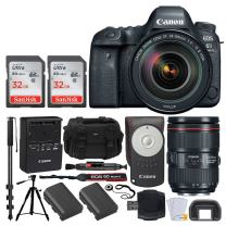 "Canon EOS 6D Mark II DSLR Full Frame Camera + EF 24-105mm f/4L is II USM Lens + Canon Battery LP-E6N + Canon RC-6 Wireless Remote + Vivitar Gadget Bag + 72"" Monopod + Quality Tripod – Deluxe Bundle"