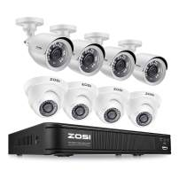 ZOSI 1080p Home Security Camera System Indoor Outdoor, H.265+ CCTV DVR Recorder 8 Channel and 8 x 1080p Weatherproof Surveillance Bullet Dome Camera, Remote Access, Motion Detection (No Hard Drive)