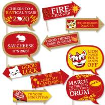 Big Dot of Happiness Funny Chinese New Year - 2020 Year of the Rat Photo Booth Props Kit - 10 Piece
