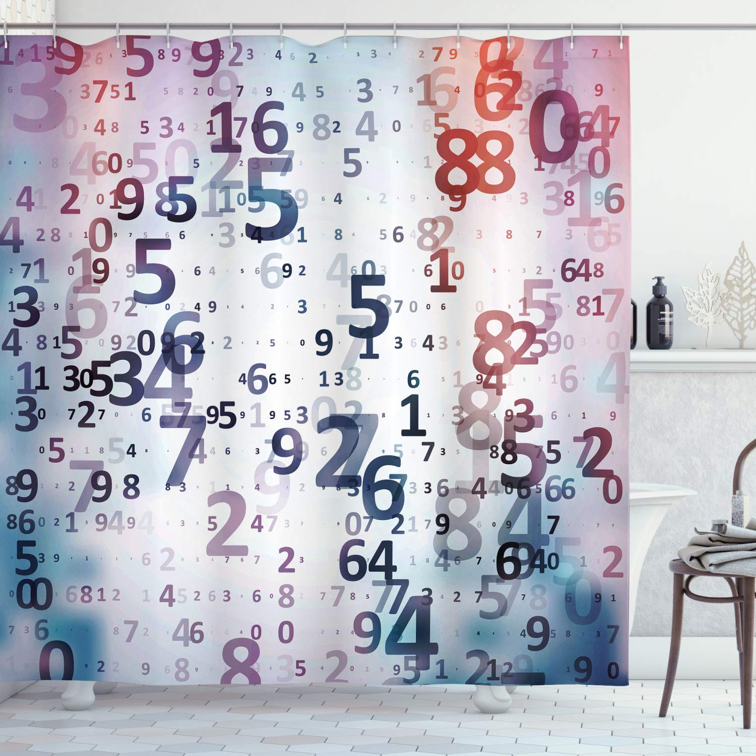 """Ambesonne Abstract Shower Curtain, Digital Code Numbers Computer Database Science Information Technology Themed Art, Cloth Fabric Bathroom Decor Set with Hooks, 75"""" Long, Lilac Coral"""