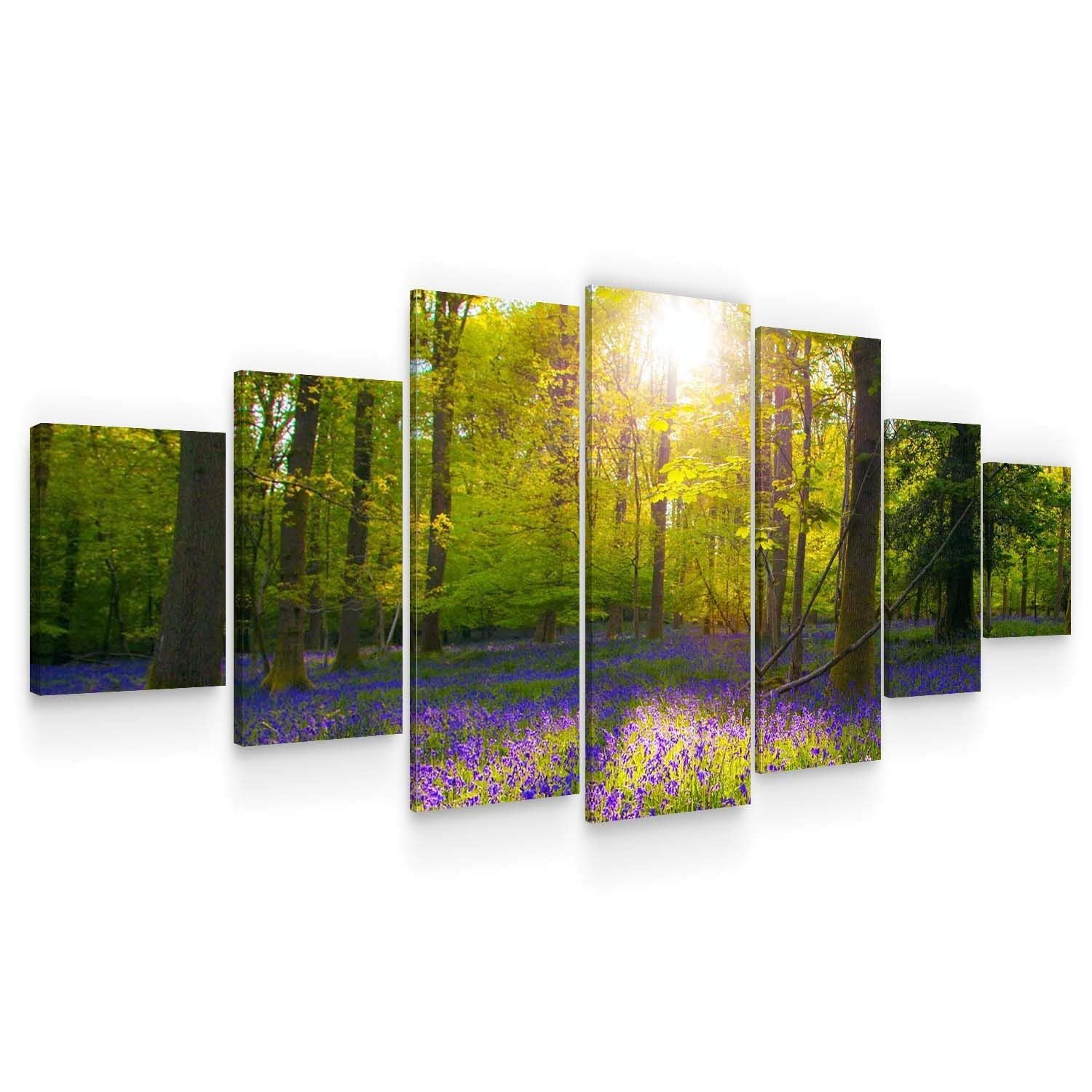 Startonight Huge Canvas Wall Art - Glade in The Forest Large Framed Set of 7 40 x 95 Inches
