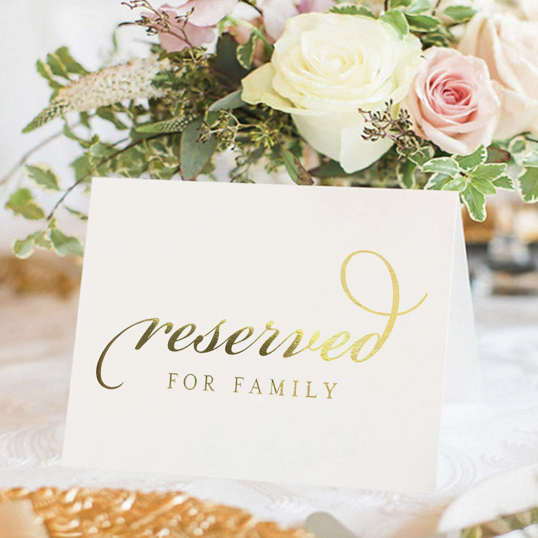 Bliss Collections Gold Reserved Signs for Wedding Ceremony or Reception, 4x6 Tented Metallic Real Gold Foil Cards for Tables, Chairs, Pews, Framing - Pack of 10