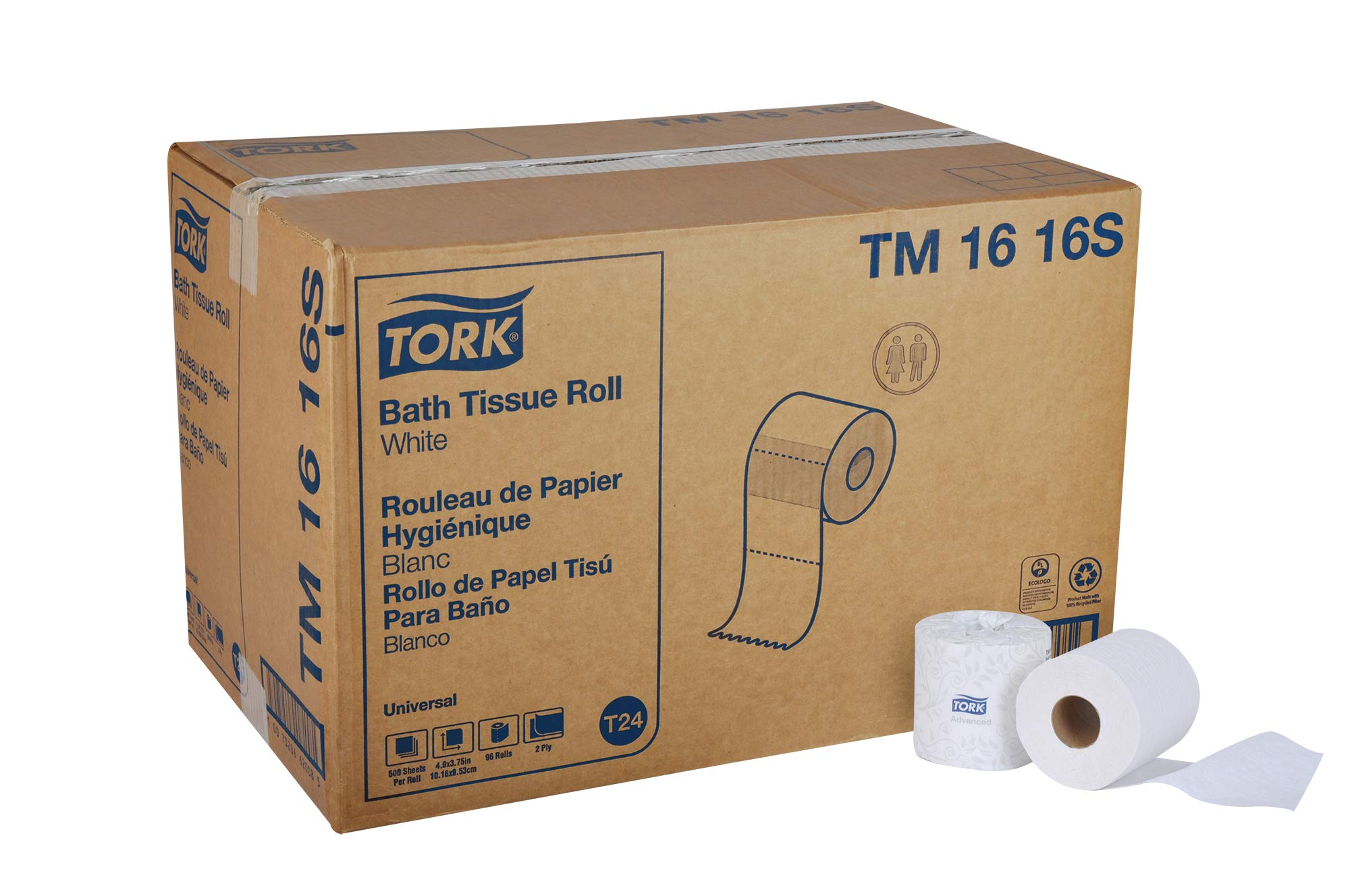 "Tork Universal TM1616S Bath Tissue Roll, 2-Ply, 4"" Width x 3.75"" Length, White (Case  of 96 Rolls, 500 per Roll, 48,000 Sheets)"