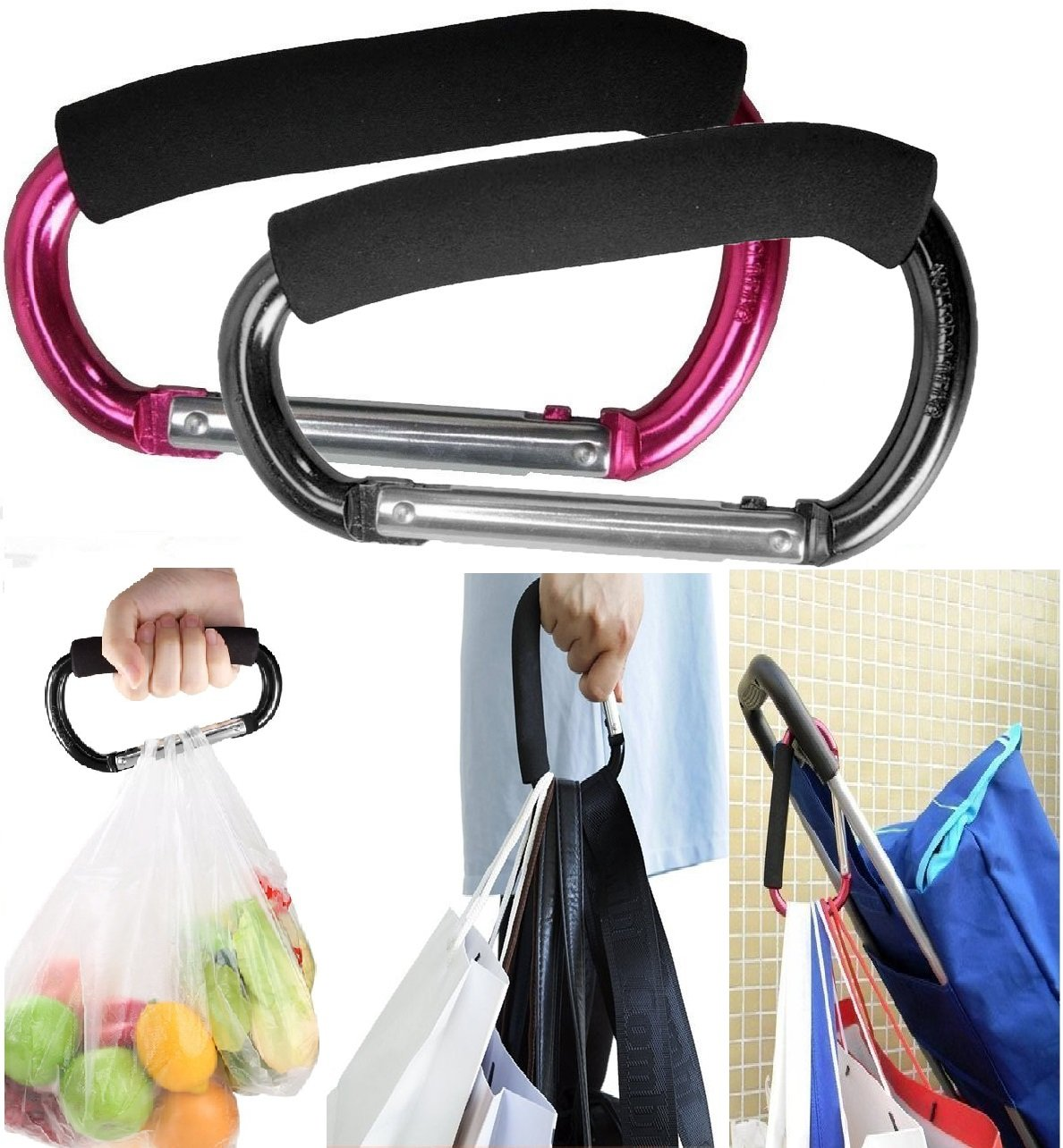 Large Stroller Hooks for Mommy, 2 pcs Carabiner Stroller Hook Organizer for Hanging Purses, Diaper Bag, Shopping Bags. Clip Fits Single/Twin Travel Systems, Car Seats (Black+Rose)