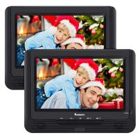 """NAVISKAUTO 9.5"""" Portable DVD Player Dual Screen with 5-Hour Built-in Rechargeable Battery, Last Memory and Region-Free (Two Screens Play One Movie)"""