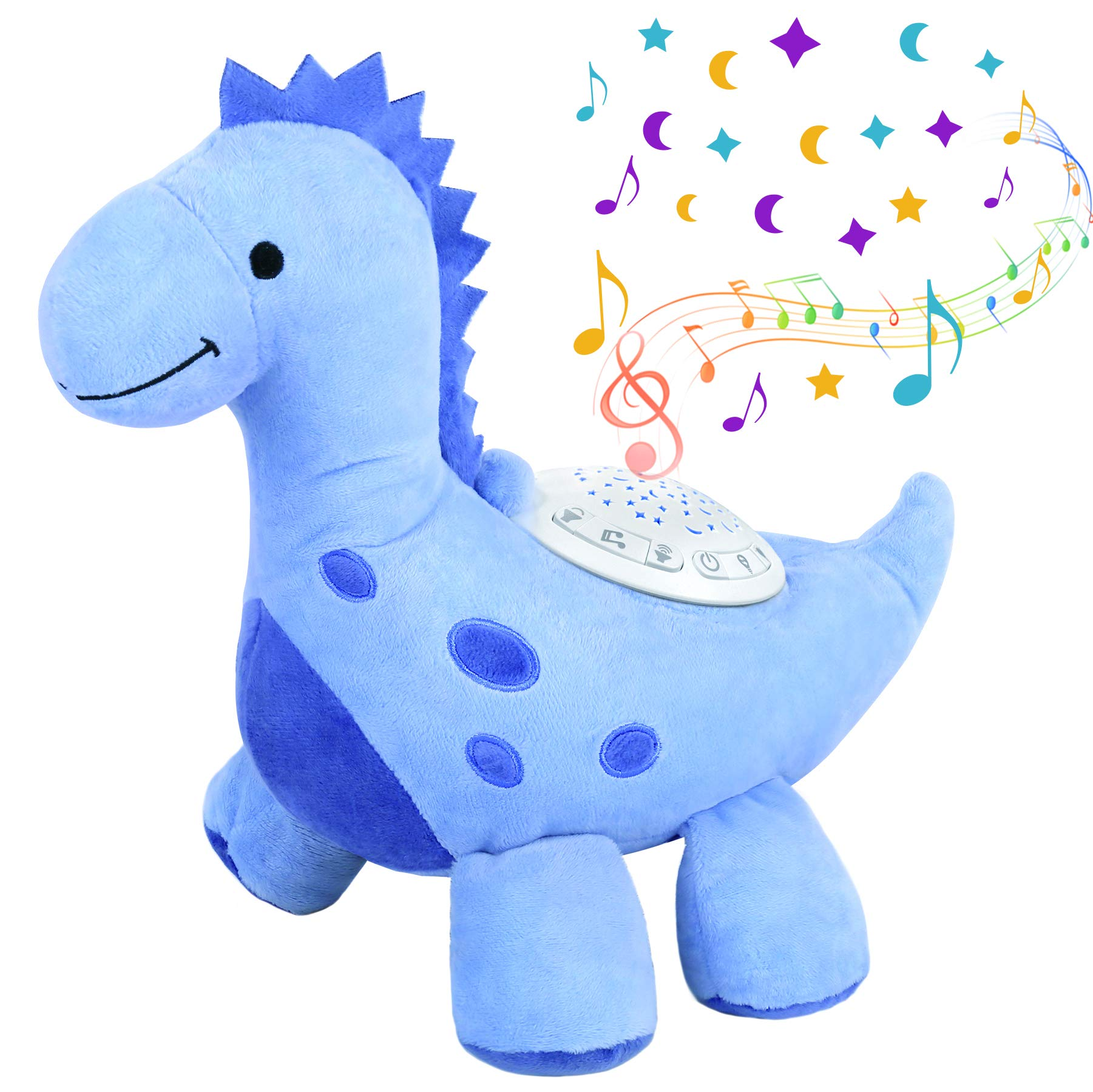 Baby Sleep Soother White Noise Machine Toddler Star Projector Sleep Aid Night Light Gift for Newborn and Up Boy and Girls Baby Sound Machine Dinosaur Plush Toy (Batteries Not Included)