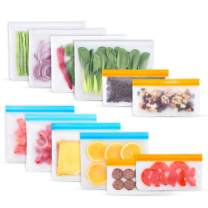 Reusable Freezer Bags,12 Pack Reusable Storage Food Bags(4 Reusable Gallon Bags, 4 Reusable Sandwich Bags, 4 Reusable Snack Bags) Leakproof BPA Free Lunch Bags for Toiletries,Fruit,Meat,Sous Vide