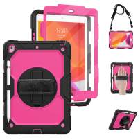 TSQ iPad 10.2 Case 2019 with Screen Protector, Heavy Duty Childproof Shockproof Rubber Case with 360 Degree Rotatable Stand/Hand Strap+Shoulder Strap+Pencil Holder for iPad 7th Generation,Rose Red