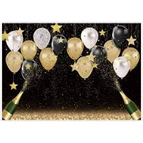 Allenjoy 7x5ft Fabric Black Golden Backdrops Party Decorations Happy Birthday Banner Favors Balloon Glitter Stars Champagne Bachelorette Party Background Supplies Baby Bridal Shower Photo Studio Props