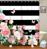 LIVILAN Black and White Shower Curtain with Pink Roses, Butterfly Fabric Shower Surtains Set with Hooks, Decorative Striped Shower Curtains for Bathroom 72x72 Inches