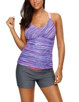 Nicetage Womens V Neck Colorblock Printed Tankini Open Back Strappy Racerback Swim Top No Bottom