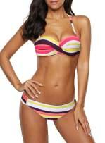 Sidefeel Women Stripes Halter Push Up Twist Bandeau Bikini Set Two Piece Swimsuits