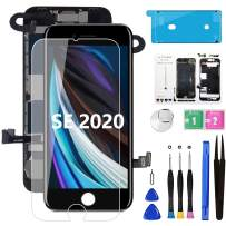 "for iPhone SE 2020 [ 2nd Generation ] Screen Replacement Black 4.7"", with Front Camera+Ear Speaker+Sensors, Diykitpl Full Assembly LCD Digitizer with Repair Tools+Magnetic Screw map+Waterproof Seal"