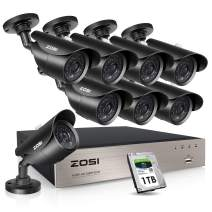 ZOSI 8CH Outdoor Security Camera System with Hard Drive 1TB, H.265+ 8Channel 1080P HD-TVI DVR and (8)×1080P HD Weatherproof Surveillance Camera System,120ft Night Vision