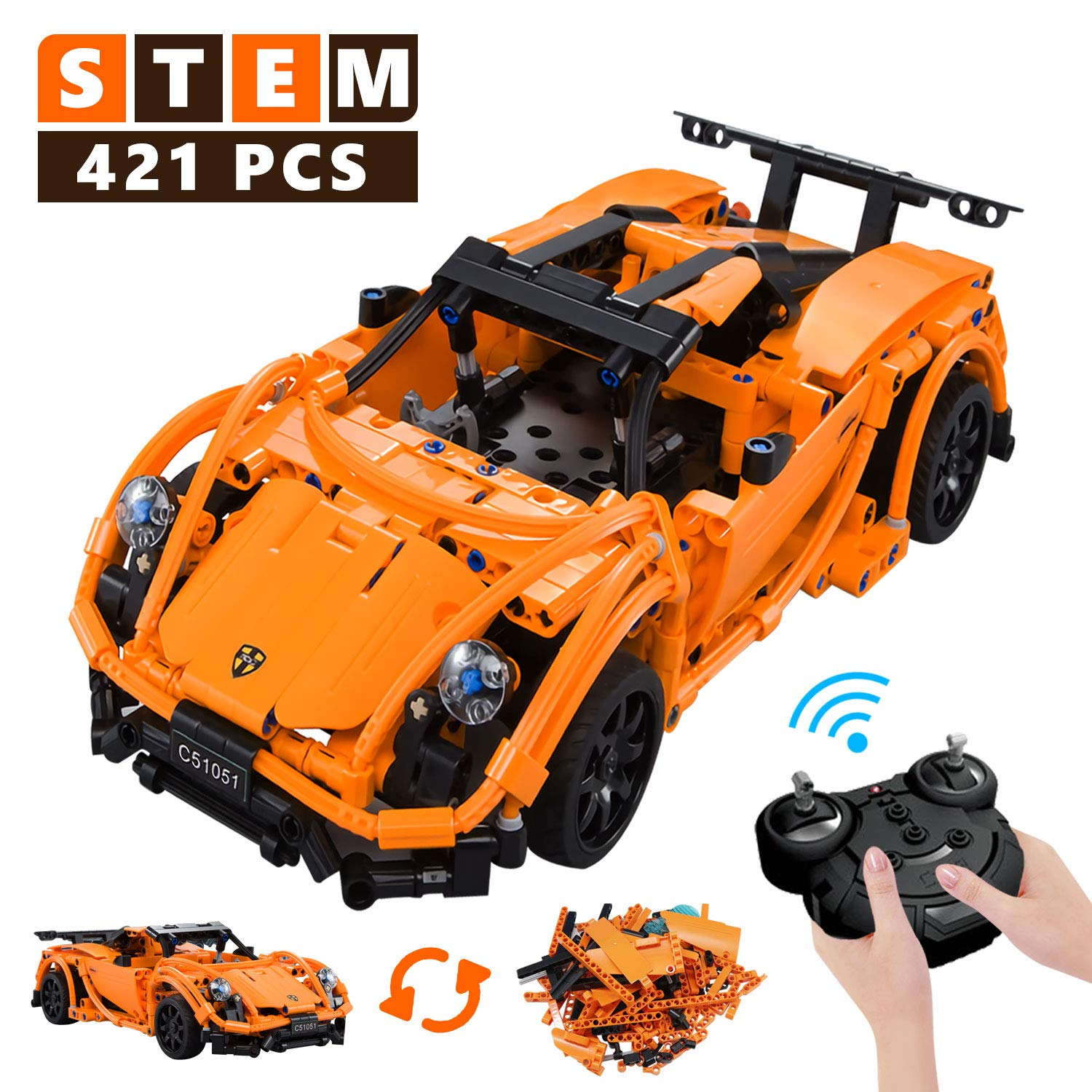 Stem Building Toys Rc Car Remote Control Car Educational Toys For Boys And Girls 421 Pieces Building Blocks Toys Top Birthday Gift For 6 10 Years Kids Model Cars Kits To Build For