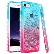 """Ruky iPhone SE 2020 Case, iPhone 6 6S 7 8 Glitter Case, Gradient Quicksand Series Flowing Liquid Floating Bling Diamond Flexible TPU Girls Women Phone Case for iPhone 6/6s/7/8/SE 2020 4.7"""" (Teal Pink)"""