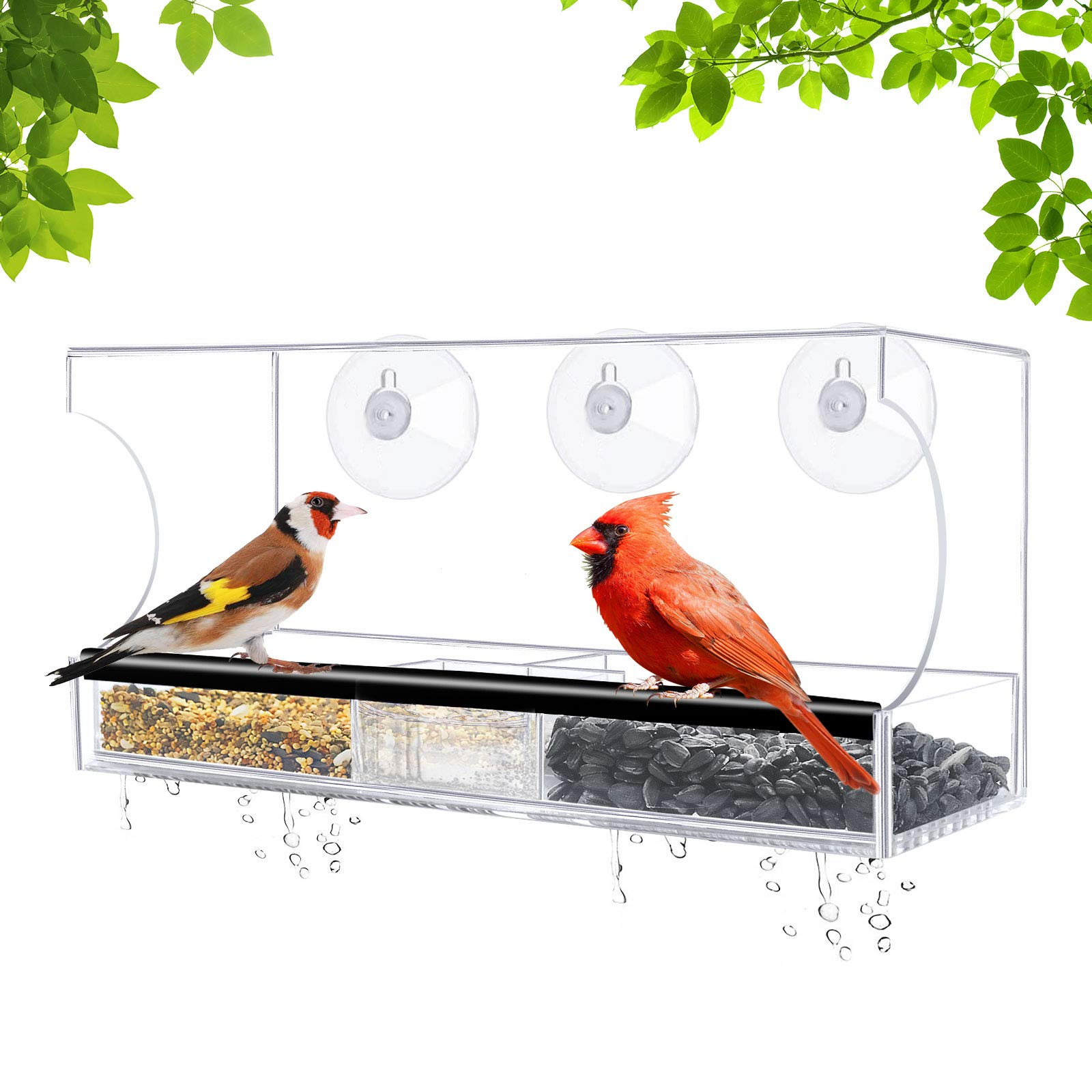 HOTOZON Window Bird Feeder with Extra Strong Suction Cups, Large Clear Acrylic Outdoor Birdfeeder, Removable Seed Tray with Drainage Holes, Transparent Outside Birdhouse for Wild Birds