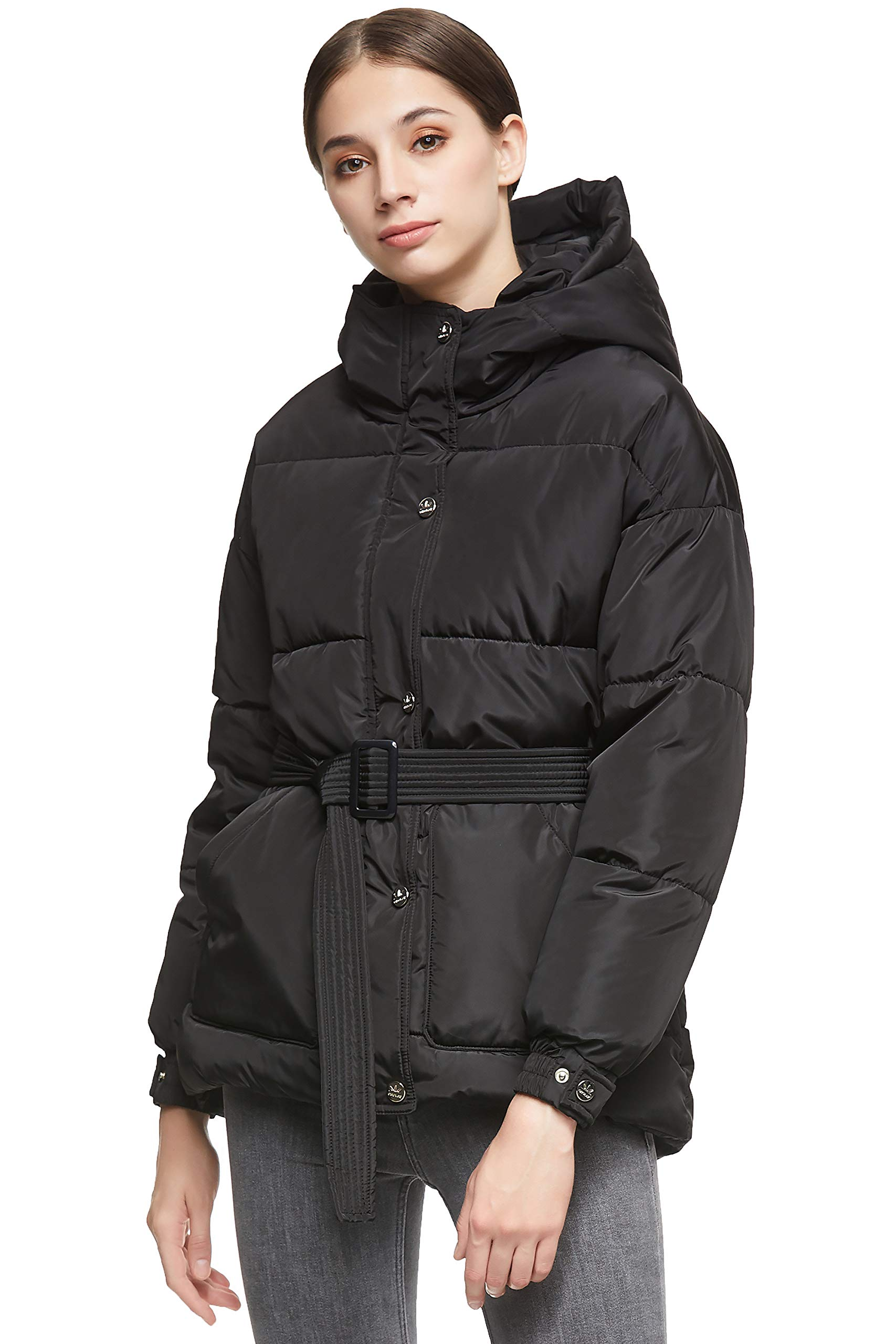 Orolay Women's Short Down Coat with Removable Belt Elastic Cuff Hooded Jacket