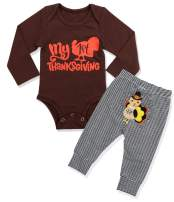 Thanksgiving Baby Boy Outfit My 1st Thanksgiving Romper +Pants 2PCS Clothing Set