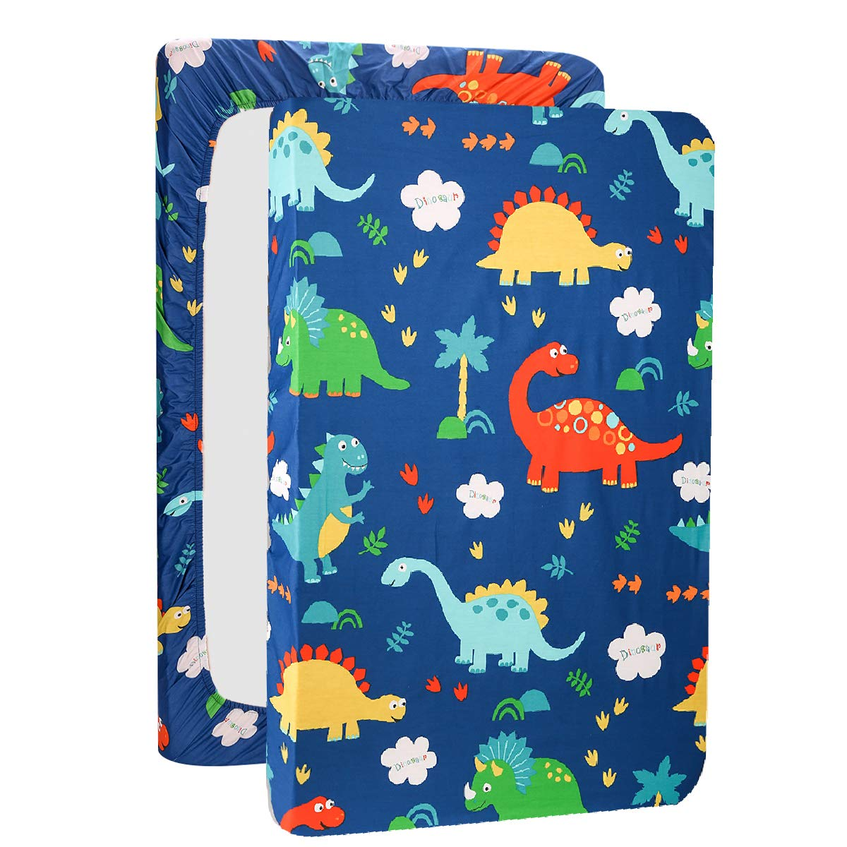 UOMNY Mini Crib Sheets Dinosaur Pack n Play Playard Sheet Fitted Playard Mattress Sheet,100% Natural Cotton Mini Portable Crib Sheets for Boys and Girls 1 Pack