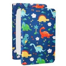 UOMNY Mini Crib Sheets Dinosaur Pack n Play Playard Sheet Fitted Playard Mattress Sheet,100% Natural Cotton Mini Portable Crib Sheets for Boys and Girls 1 Pack